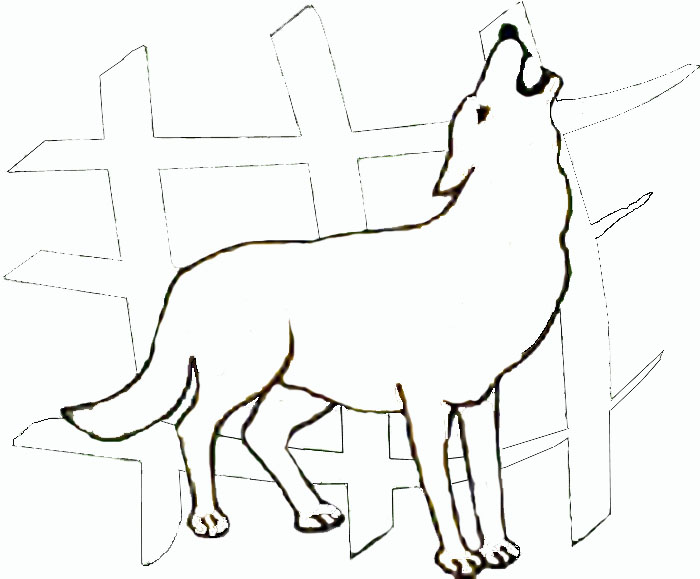 Free wolf howling at the moon coloring pages